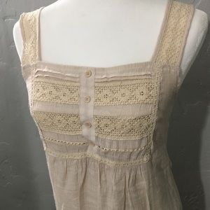 Vintage Style Cream Dress with Lace Straps & bust